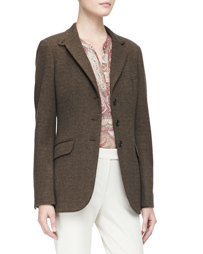 Loro Piana Herringbone 3-Button Jacket with Elbow Patches