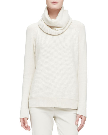 Cashmere Melange Sweater with Detachable Cowl