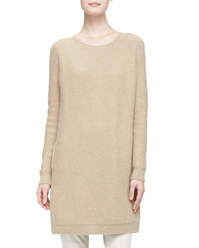 Loro Piana Cashmere Sweaterdress with Removable Chinchilla Fur Cowl