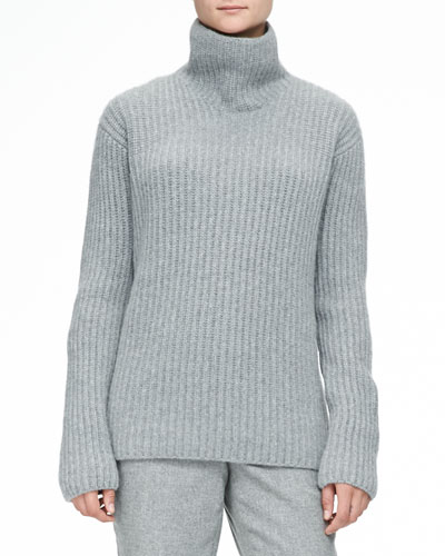 Loro Piana Cashmere Melange Ribbed Sweater, Gray