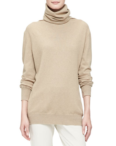 Loro Piana Cashmere Fine-Knit Sweater with Suede Elbows