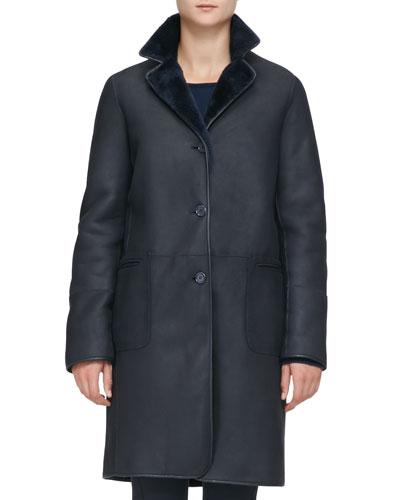 Loro Piana Long Reversible Shearling Coat, Catalina Blue