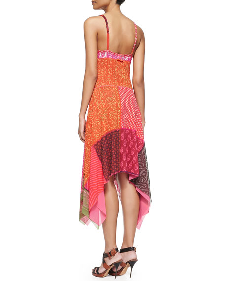 Patchwork Handkerchief Slip Dress