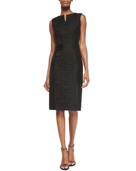 Carolina HerreraFloral-Lace Accent Sheath Dress, Black