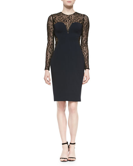 Carolina Herrera Long-Sleeve Lace & Jersey Cocktail Dress