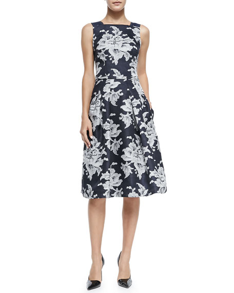Carolina Herrera Large Lace-Print Gazaar Cocktail Dress