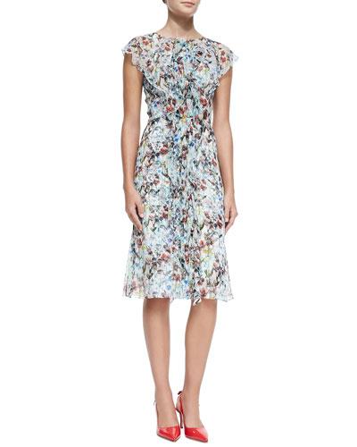 Carolina Herrera Ruffle-Front Crinkled Botanical Dress
