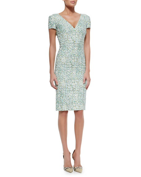 Short-Sleeve V-Neck Tweed Sheath Dress