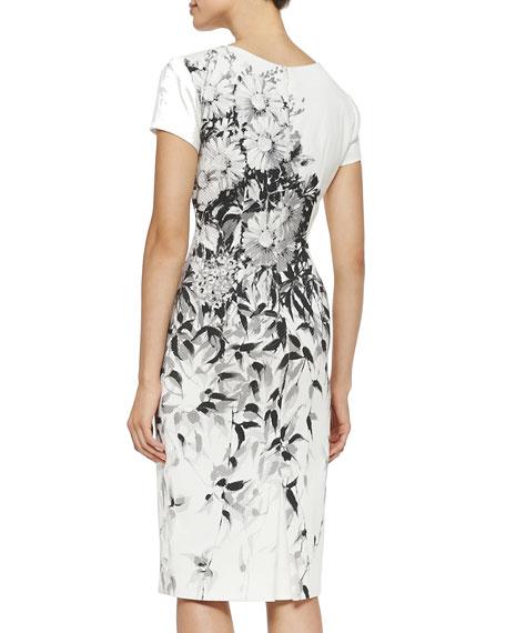 Floral Pique Cotton Sheath Dress