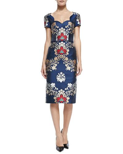 Carolina Herrera Short-Sleeve Brocade Sheath Dress