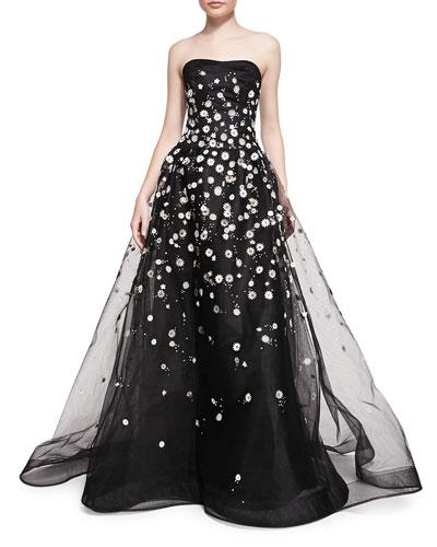 Carolina Herrera Strapless Ball Gown W/ Embroidered Daisies