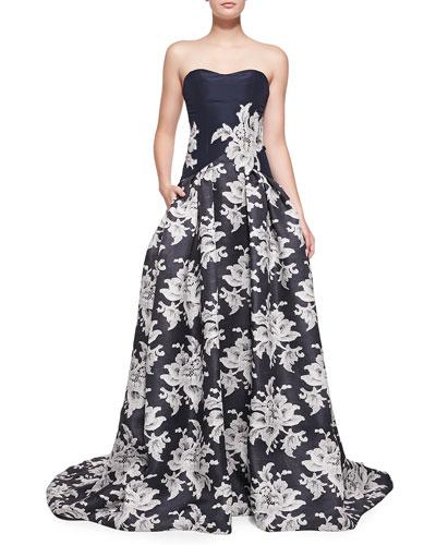 Carolina Herrera Strapless Lace-Print A-Line Gown