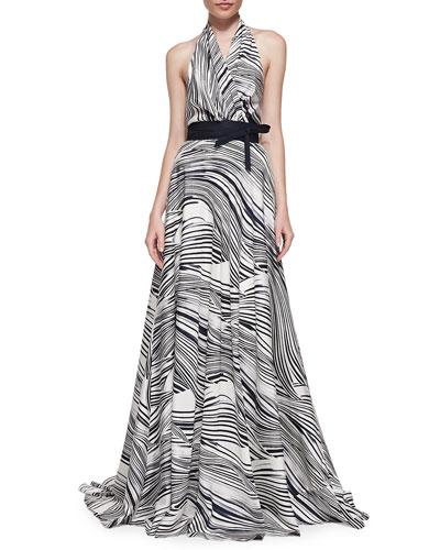 Carolina Herrera Wave-Striped Halter Gown