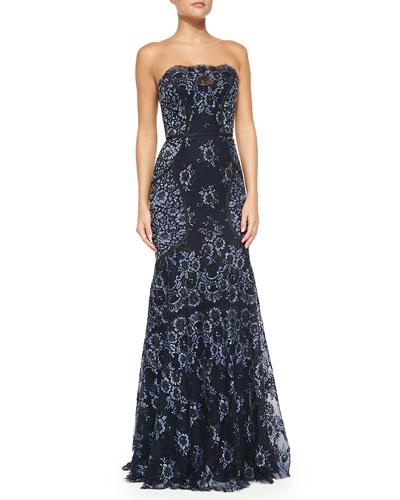 Carolina Herrera Strapless Denim Lace Dress