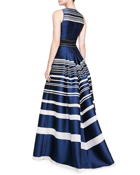 Striped Jacquard Gown, Navy/White