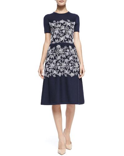 Carolina Herrera Short-Sleeve Floral Knit Dress