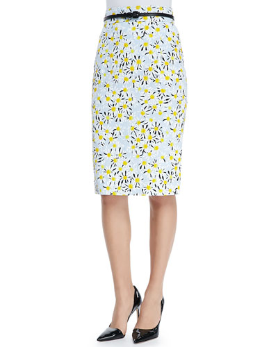 Carolina Herrera Belted Daisy Pencil Skirt