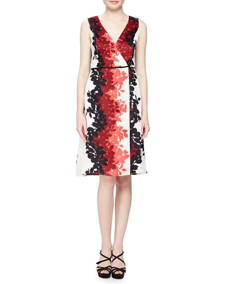 Carolina Herrera Napoleon Leaves Devore Dress