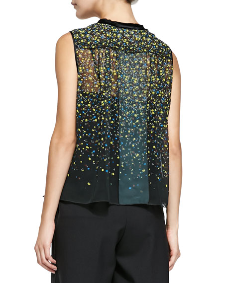 Sleeveless Floral Blouse W/ Asymmetric Tie