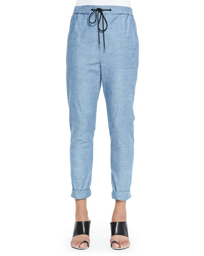 Loose Chambray Pants, Blue