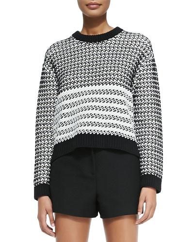 Long-Sleeve Knit Sweater, Black/Ecru/Gray