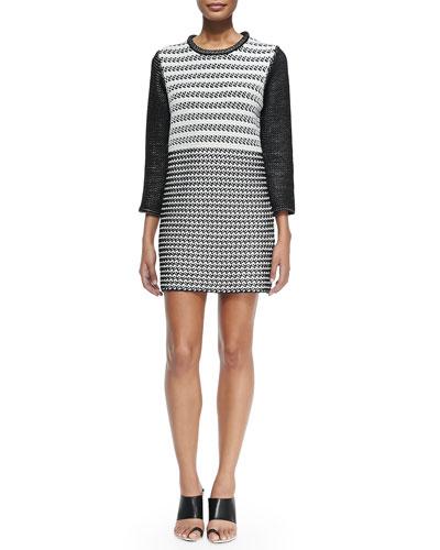 3/4-Sleeve Combo-Knit Dress