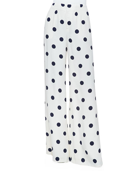 Courtney Polka Dot Pants, Cream/Navy