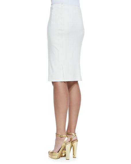 Ralph Lauren Collection Cindy Silk Pencil Skirt Cream