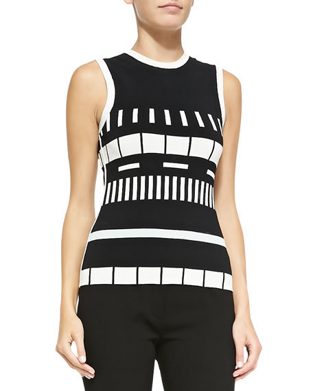 Narciso Rodriguez Sleeveless Reversible Graphic-Striped Top