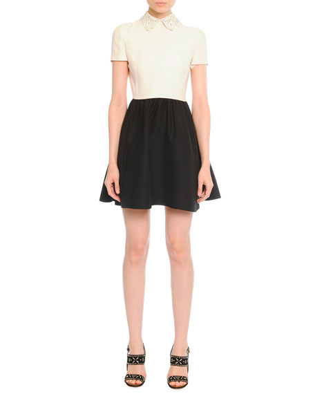 Leather-Collared Colorblock Dress