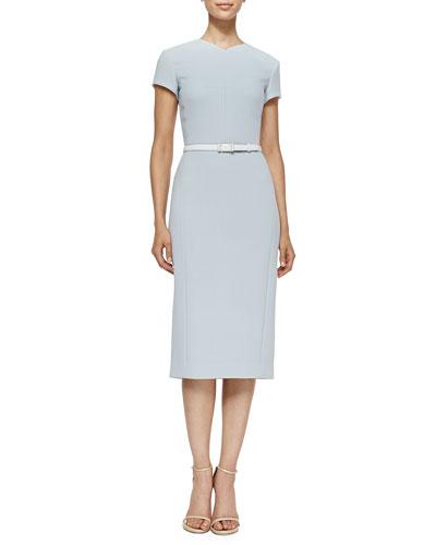 Short-Sleeve Belted Crepe Dress