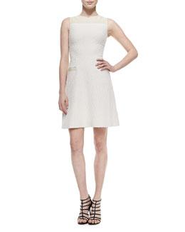 Sleeveless A-Line Dress W/ Leather Trim