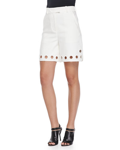 High-Waist Eyelet Shorts, White