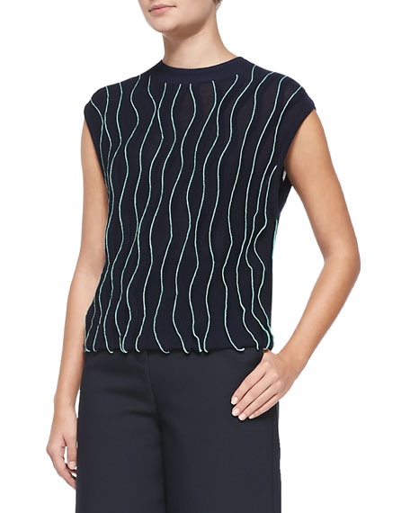 3.1 Phillip Lim Sleeveless Thread-Wave Pullover Sweater