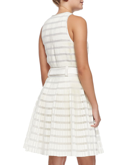 3 1 Phillip Lim Striped Accordion Pleated Fit And Flare