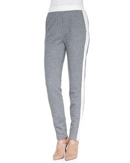 Trapunto-Striped Track Pants, Gray Melange