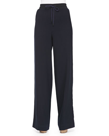 3.1 Phillip Lim Wide-Leg Wool Pants W/ Drawstring
