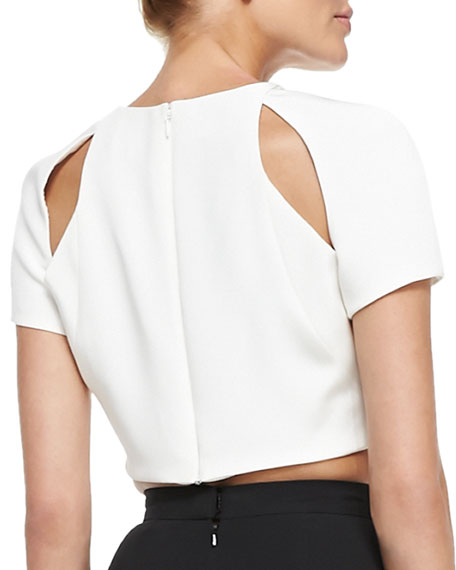 Short-Sleeve Crop Top with Cutouts, Ivory