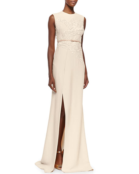 Sequin-Embroidered High-Slit Gown, Ivory