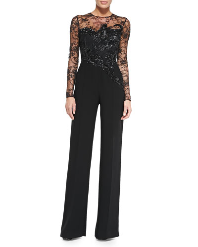 Elie Saab Long Sleeve Embroidered Lace Jumpsuit