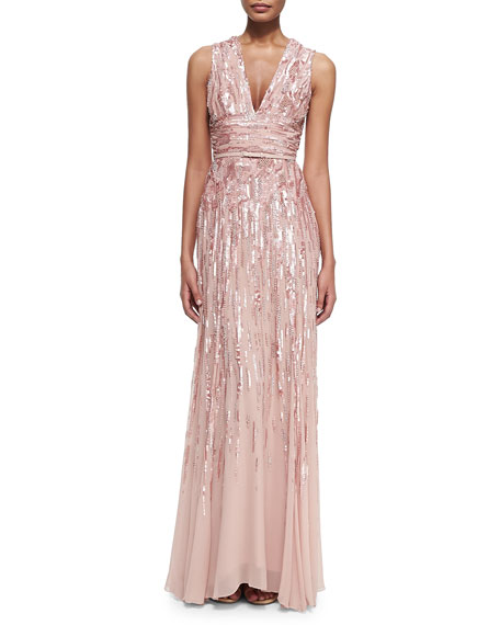 Embellished Sleeveless V-Neck Gown