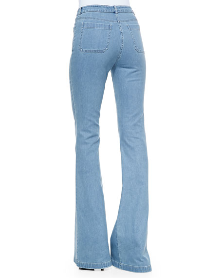 Michael Kors Washed Denim Bell-Bottom Jeans, Cornflower