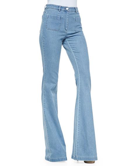 Washed Denim Bell-Bottom Jeans, Cornflower