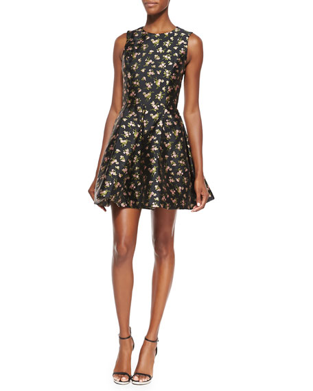 Michael Kors Floral Flirt Dress, Black/Oleander