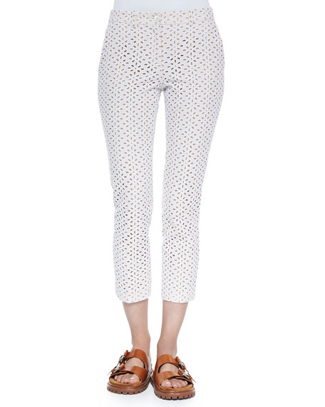 Michael Kors Samantha Cropped Eyelet Pants, Optic White