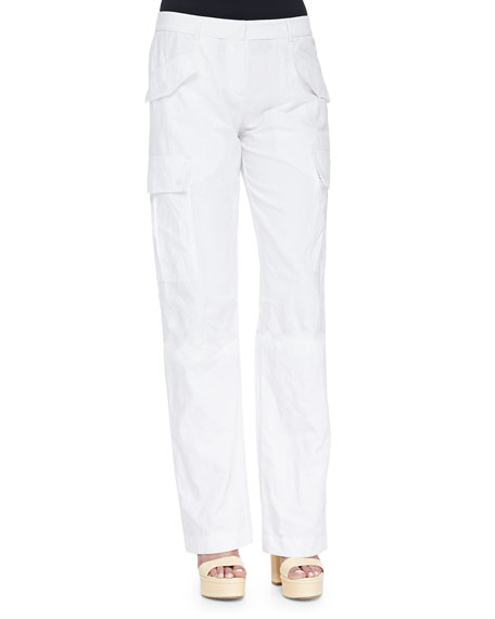 Michael Kors Straight-Leg Cargo Pants, Optic White