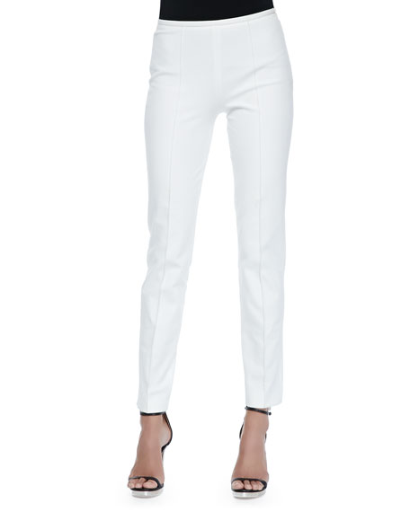 Michael Kors Collection Side-Zip Skinny Pants, Optic White