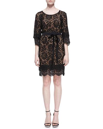 Tie-Waist Scalloped Lace Dress, Black