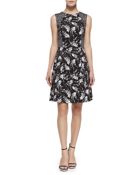Michael Kors Stretch-Cotton Contrast Princess Dress