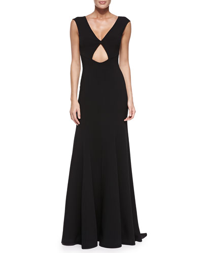 V-Neck Gown with Cutout, Black